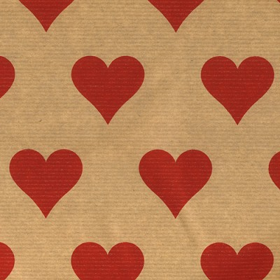 Geschenkpapier 30cm breed, 100m lang, red hearts on nature ribbed kraft