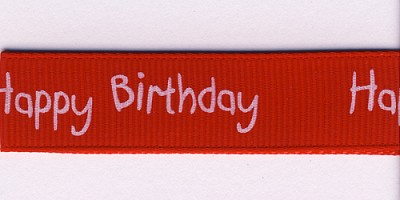 Lint grosgrain, 16mm breed, 20m lang, Happy birthday, rood