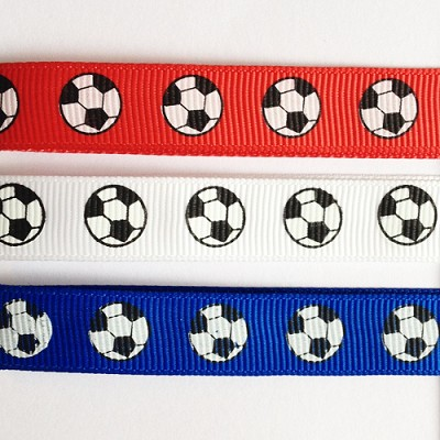 Lint grosgrain, 12mm breed, 20m lang, Voetbal, rood