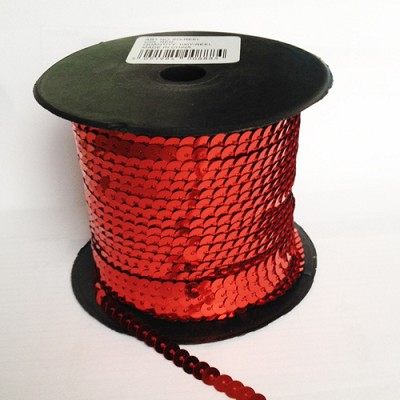 Paillettenlint (Sequins) 6mm / 91,4 m lang / Rood