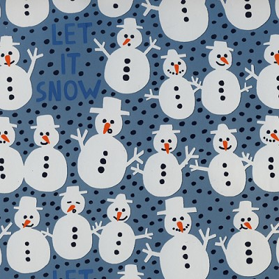 Geschenkpapier eindejaar 50cm breed, 150m lang, metallic, `Let it snow` ice blue