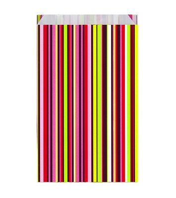 Geschenkzakjes 120x45x200mm, coloured stripes, 50 stuks