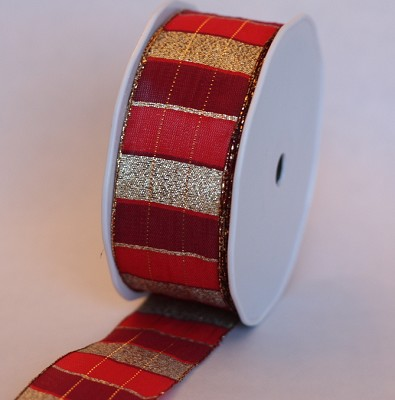 Stoffen lint Wired, 40mm br, 20m lang, stripes rood + goud