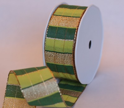 Stoffen lint Wired, 40mm br, 20m lang, stripes groen + goud