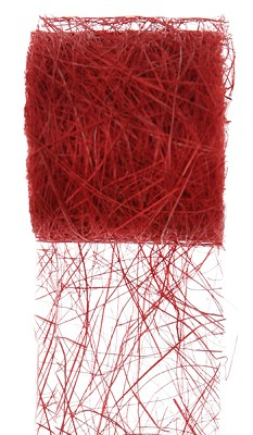Lint natuur abaca, 70mm breed, 5 m lang, rood