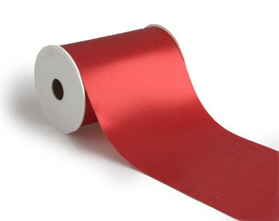 Wide satin lint, 100mm breed, 25m lang, rood