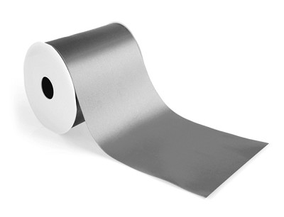 Wide satin lint, 100mm breed, 25m lang, zilver