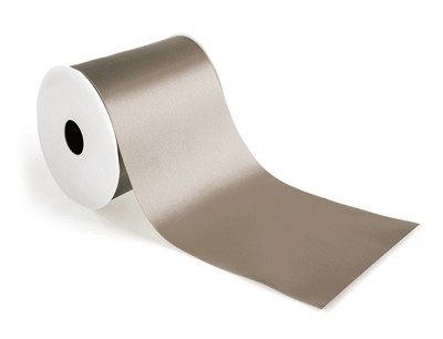 Wide satin lint, 150mm breed, 25m lang, taupe
