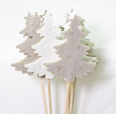 Bijsteker Vilt Kerstboom Taupe Wit 7 5x6 Cm 12 Stuks D Eco