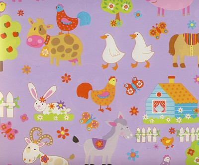Geschenkpapier 50cm breed, 100m lang, farm animals