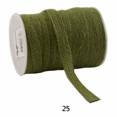 Jute lint, 12mm breed, 20m lang, olijfgroen