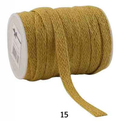 Jute lint, 12mm breed, 20m lang, geel