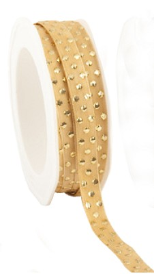 Jaquard ribbon `Shiny Xmas dots`, 10mm breed, 20m lang, goud + gouden dots