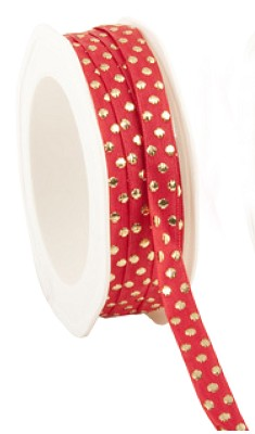 Jaquard ribbon `Shiny Xmas dots`, 10mm breed, 20m lang, rood + gouden dots