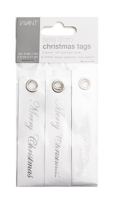 Seta d`oro dubbelzijdig luxe christmas tags, 25mm x 110mm, 6st, wit / zilver
