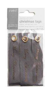 Seta d`oro dubbelzijdig luxe christmas tags, 25mm x 110mm, 6st, donkergrijs / goud