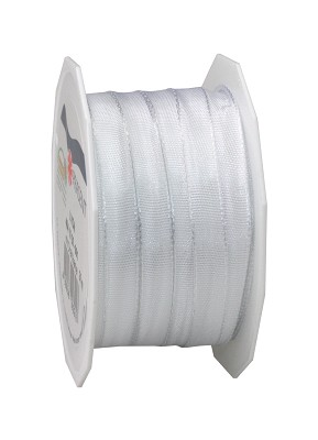 Lint LYON in stof met wired edges, 10mm x 25m, wit