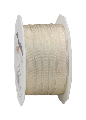 Lint LYON in stof met wired edges, 10mm x 25m, cream