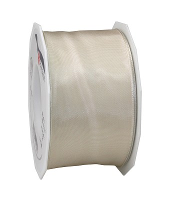Lint LYON in stof met wired edges, 60mm x 25m, cream