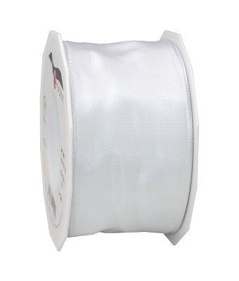 Lint LYON in stof met wired edges, 60mm x 25m, wit
