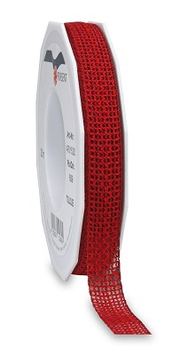 Lint TOULOUSE (tweekleurig geweven) 15mm - 20m - rood