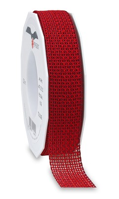 Lint TOULOUSE (tweekleurig geweven) 25mm - 20m - rood