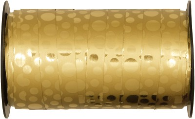 Krullint PP metallic gloss dots, 10 mm br, 50 m lang, goud