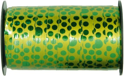 Krullint PP metallic gloss dots, 10 mm br, 50 m lang, groen