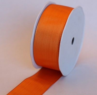 Lint in stof UNI WIRED, 40mm br, 25m lang, oranje